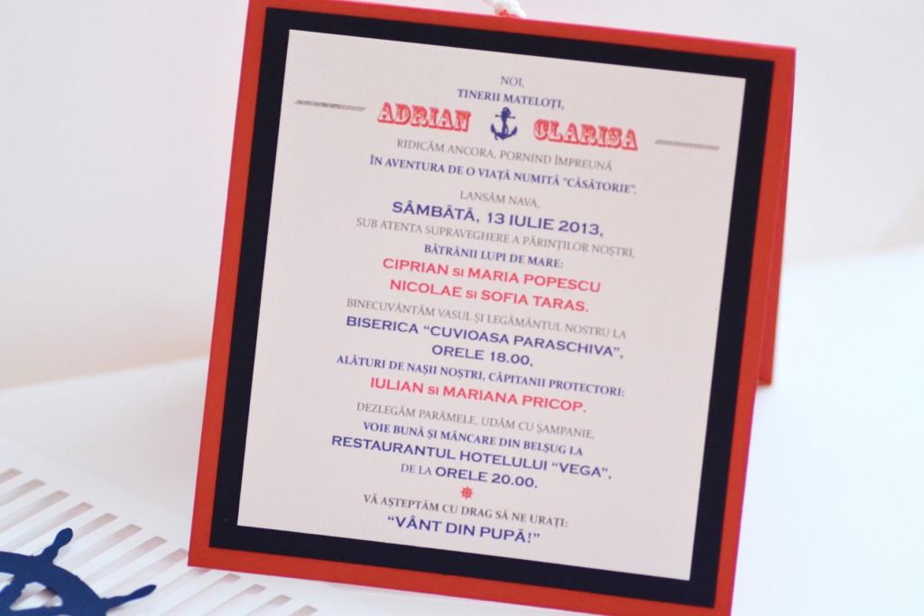 Textul personalizat pentru invitatii de nunta cu tematica marina