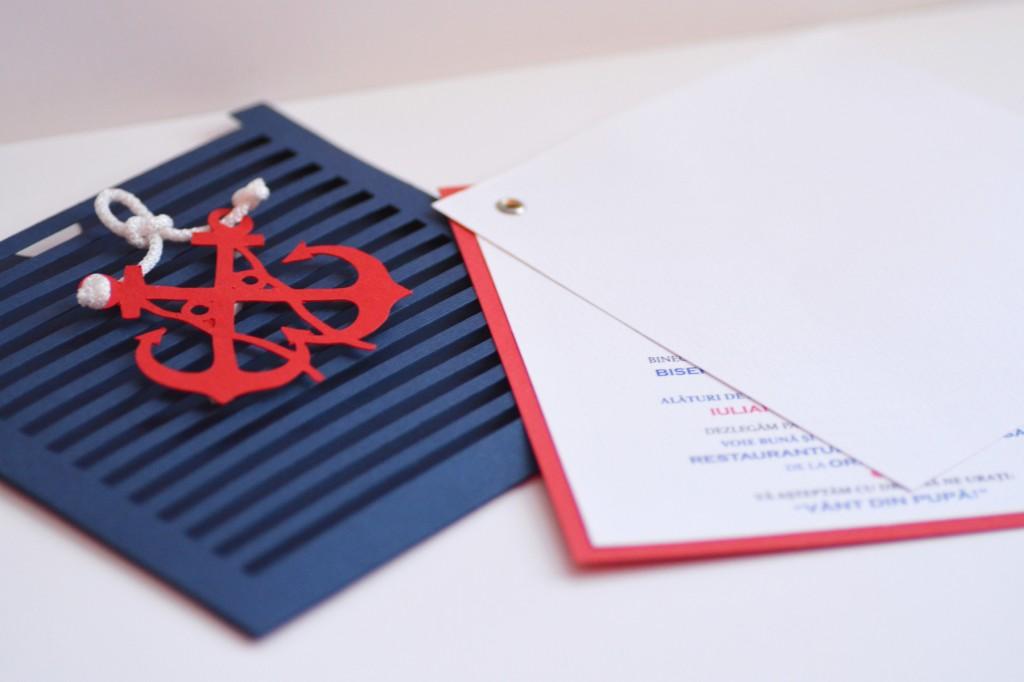 Invitatii pentru nunta cu tematica marina, invitatie cu 2  ancore culori bleumarin rosu si alb
